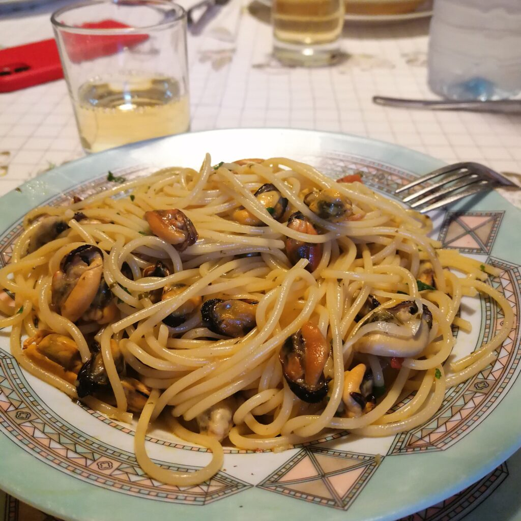 Grandma's pasta with mussels in Calabria Southern Italy